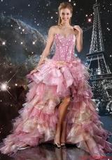 Informal High Low Beaded Multi Color Dama Dresses with Ruffles
