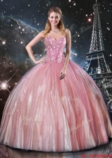 Luxurious 2016 Fall Ball Gown Sweetheart Beaded Quinceanera Dresses in Pink