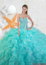 2016 Elegant Beading Sweetheart Quinceanera Dresses in Aqua Blue