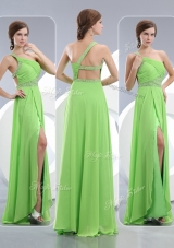 2016 Elegant One Shoulder Spring Green Bridesmaid Dresses with High Slit