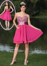 2016 Inexpensive Short Sweetheart Beading Bridesmaid Dresses in Hot Pink