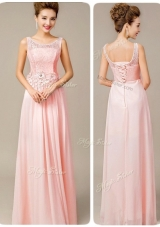 Beautiful Scoop Empire Prom Dresses with Appliques and Lace