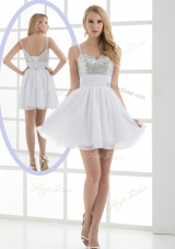 Elegant Straps Sequins Short Prom Dress for Graduation