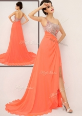 Luxurious One Shoulder Prom Dresses with High Slit and Sequins