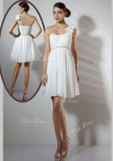 Simple Empire One Shoulder Short Bridesmaid Dresses  in White