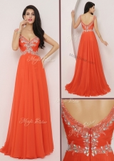 The Brand Lovely  Brush Train Prom Dresses with High Slit and Beading