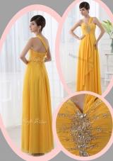 2016 Beautiful Empire One Shoulder Beading Orange Dama Dresses for Holiday