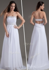 2016 Discount Empire Strapless Brush Train White Bridesmaid Dresses