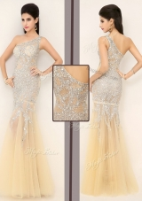 2016 Gorgeous Mermaid One Shoulder Beading Dama Dresses in Champagne