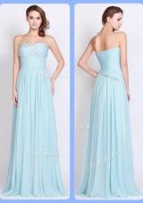 2016 New Style Brush Train Light Blue Dama Dresses with Beading and Ruching