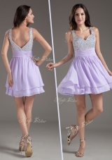2016 Simple Straps Mini Length Lavender Bridesmaid Dress with Beading