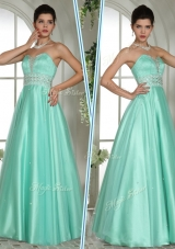 Lovely A Line Sweetheart Beading Prom Dresses in Apple Green
