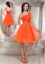 Lovely One Shoulder Beading Short Prom Dress for Party