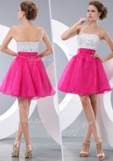 Lovely Princess Strapless Short Prom Dresses with Beading