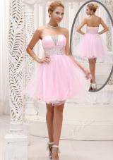 Lovely Strapless Beading Short Prom Dress for Homecoming