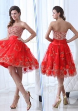 Lovely Sweetheart Red Prom Dress with Beading and Appliques