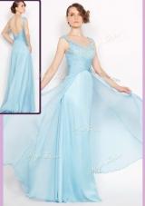 New Style Empire Brush Train Light Blue Dama Dresses with Beading