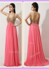 The Most Lovely Halter Top Brush Train Watermelon Red Prom Dresses