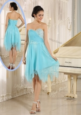 2016 Cheap Asymmetrical Sweetheart Beading Short Prom Dresses
