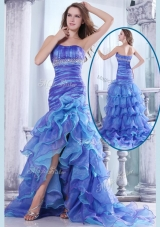 2016 Hot Sale Column Sweetheart High Low Beading and Ruffled Layers Prom Dresses