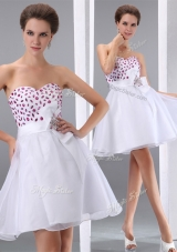 2016 Popular Sweetheart White Short Prom Dresses with Beading