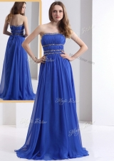 2016 Simple Strapless Empire Blue Prom Dresses with Ruching and Beading