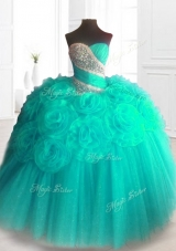 2016 Lovely Beading Sweet 16 Dresses with Hand Made Flowers