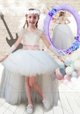 2016 Sweet V Neck High Low Appliques Little Girl Pageant  Dresses