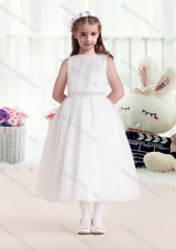 First Communion Bateau Beading White Flower Girl Dresses