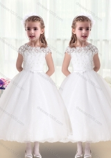 First Communion Bateau Cap Sleeves White Flower Girl Dresses