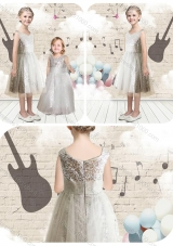First Communion Empire Scoop Sequins Flower Girl Dresses