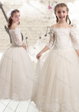 First Communion Off the Shoulder White Flower Girl Dresses with Appliques