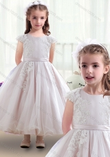 First Communion Scoop Cap Sleeves Flower Girl Dresses with Appliques