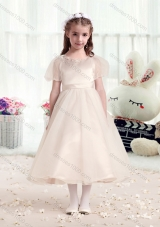 First Communion Scoop Short Sleeves Champagne Flower Girl Dresses