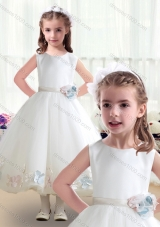 First Communion Scoop White Flower Girl Dresses with Appliques