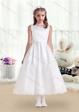 First Communion Scoop White Flower Girl Dresses with Lace and Belt