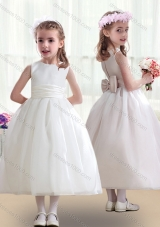 First Communion White Flower Girl Dresses with Bowknot