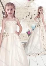 Elegant Empire Spaghetti Straps Brush Train Little Girl Pageant Dresses