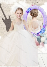 Fashionable Scoop Ball Gown White Little Girl Pageant Dresses with Lace