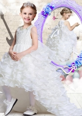 Lovely Scoop High Low White Little Girl Pageant Dresses with Ruffled Layers