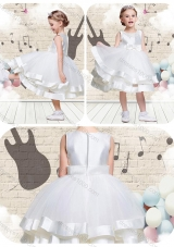 Lovely Scoop Knee Length Little Girl Pageant Dresses with Beading