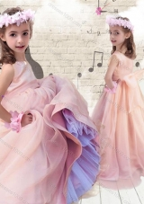 Pretty Ball Gown Peach Little Girl Pageant Dresses with Bowknot