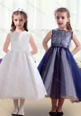Sweet Scoop Ruching Tea Length Little Girl Pageant Dresses