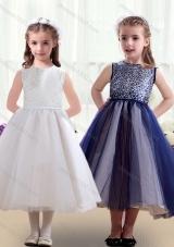 Sweet Scoop Ruching Tea Length Little Girl Pageant Dresses