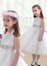 Wonderful Scoop White Little Girl Pageant Dresses with Beading