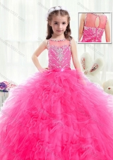 Beautiful Bateau Hot Pink Mini Quinceanera Dresses with Beading