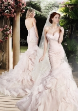 2016 Modest Mermaid Beading and Ruffles Wedding Dresses with Brush Train