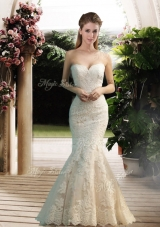 2016 Modest Mermaid Sweetheart Lace Wedding Dresses with Floor Length