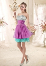 2016 Inexpensive Sweetheart Sequins and Belt Bridesmaid Dresses in Multi Color
