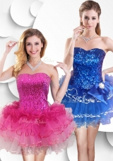 2016 Hot Sale Short Strapless Prom Dress with Sequins and Ruffles